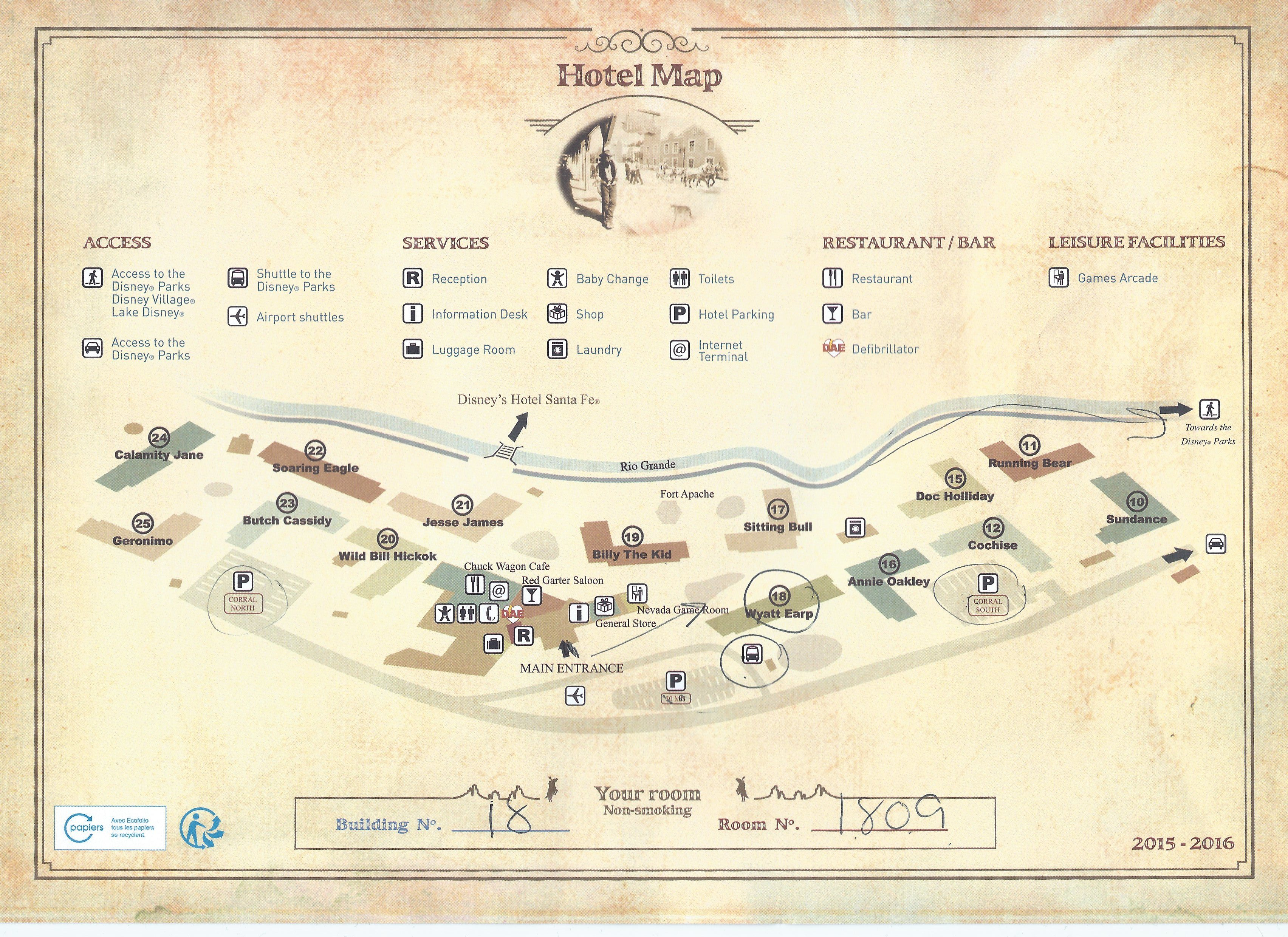 Review disney 39 s hotel cheyenne at disneyland paris for Paris hotel map