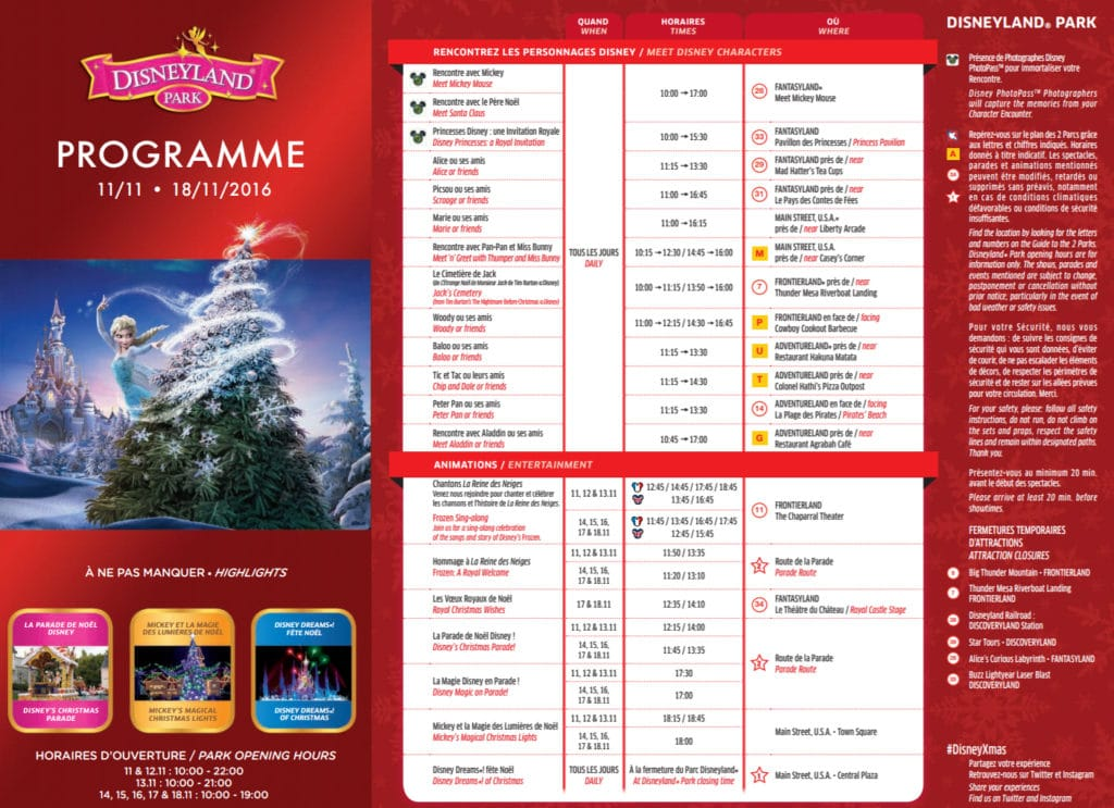Program DLP Disneyland Park November 11 2016