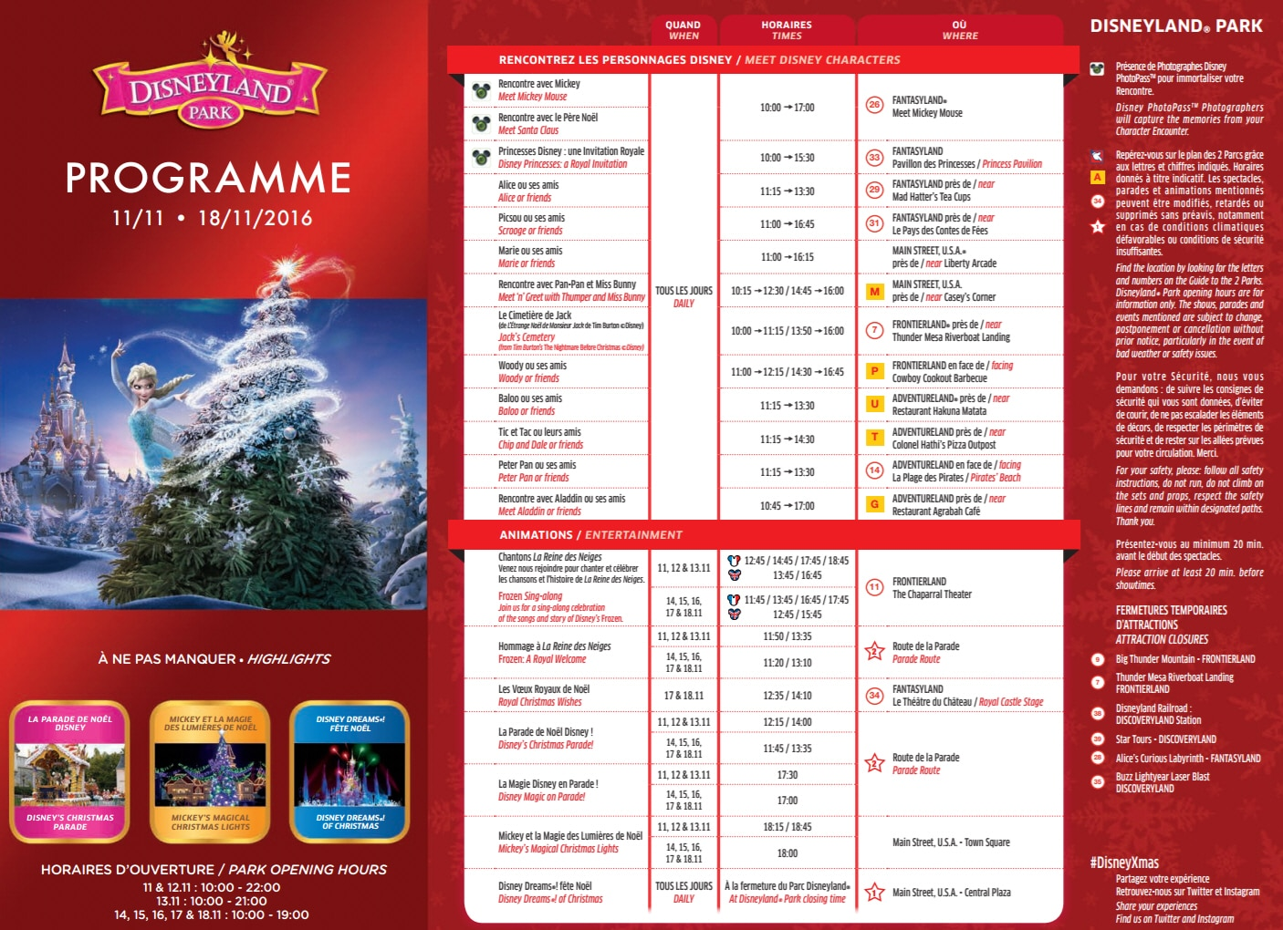 programme noel 2018 disneyland paris Park Program Disneyland Paris November 11th to November 18th  programme noel 2018 disneyland paris