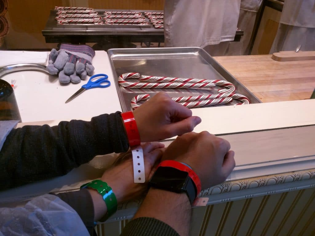 Our bracelets with the finished product calling our names...