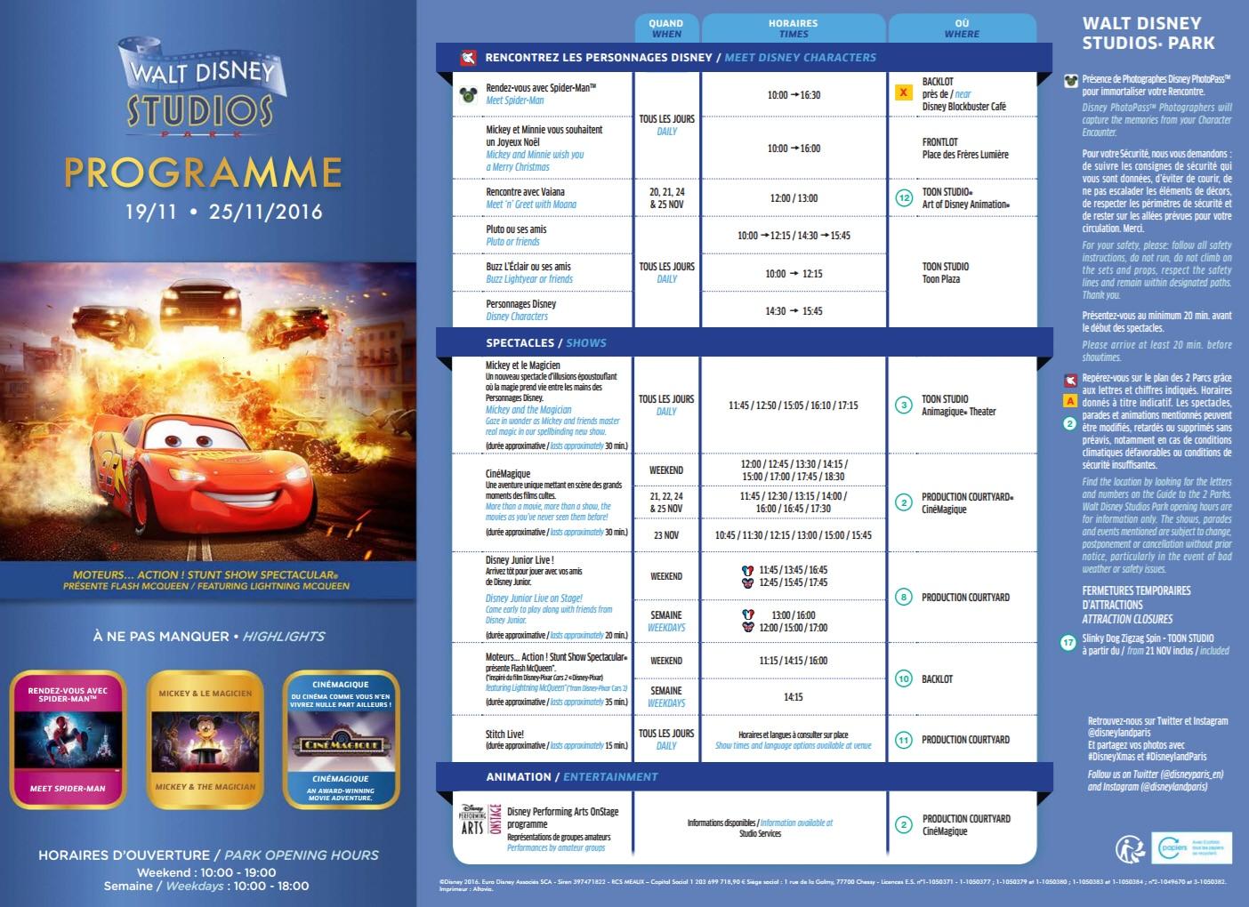 Park Program Disneyland Paris November 19th to November 25th ...