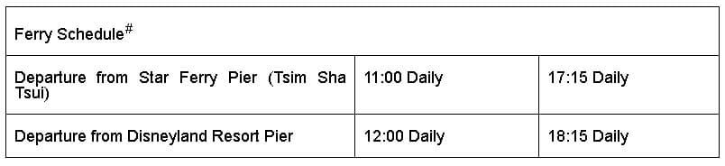 Star Ferry Water Tour Schedule - Hong Kong Disneyland