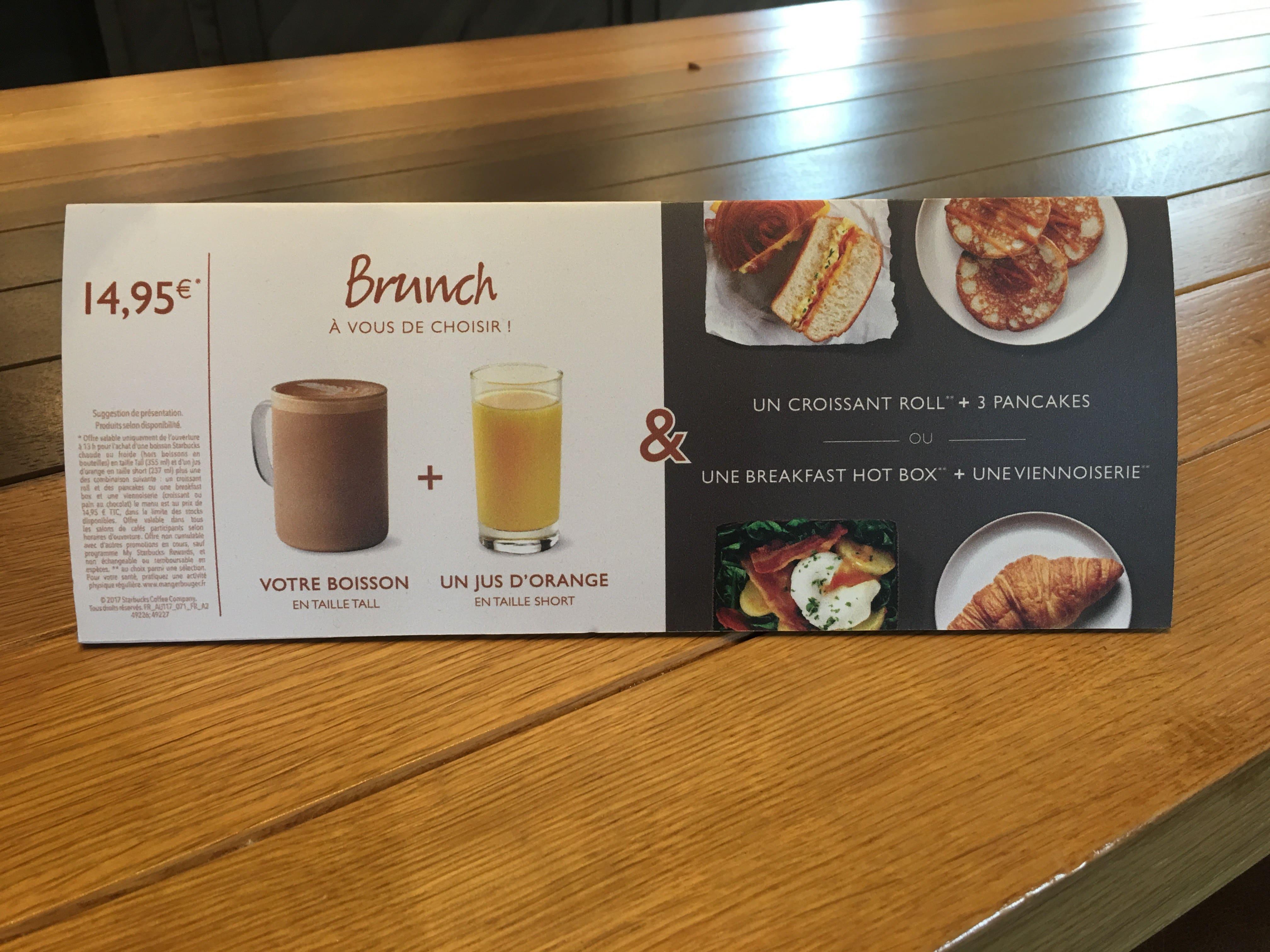 Disneyland Paris - Starbucks Brunch Menu