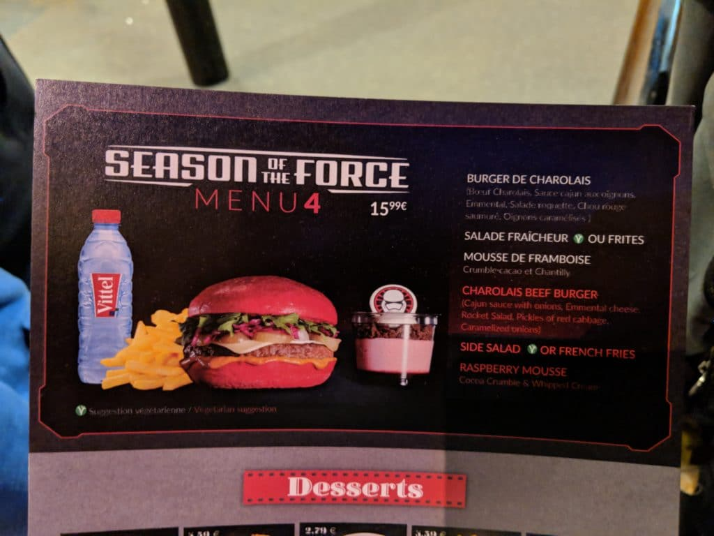 Disneyland Paris - Season of the Force 2018 - Menu