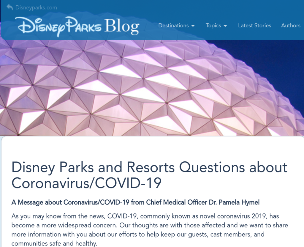 Disney Parks Blog - Corona-virus