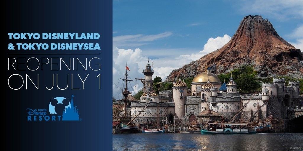 Reopening banner of Tokyo Disneyland and DisneySea